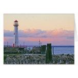 Sunset Lighthouse Michigan Greeting Card Greeting Card