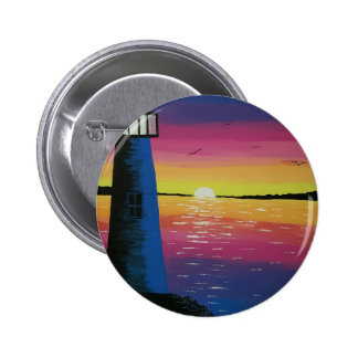 Sunset  lighthouse pinback button