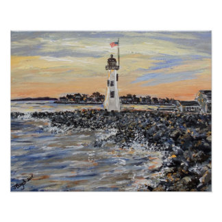 Sunset Lighthouse Poster