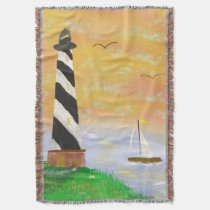 Sunset lighthouse throw bLanket