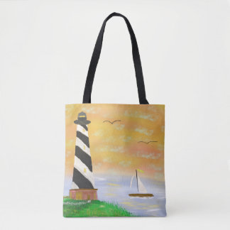 Sunset lighthouse - tote bag