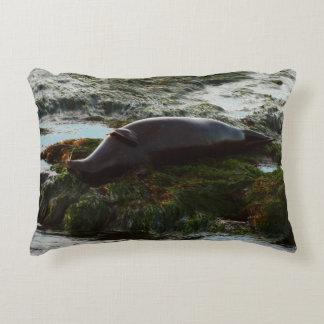 Sunset Lit Harbor Seal II at San Diego Decorative Pillow