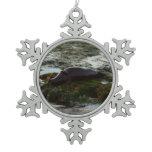 Sunset Lit Harbor Seal II at San Diego Snowflake Pewter Christmas Ornament