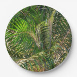 Sunset Lit Palm Fronds Paper Plate
