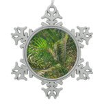 Sunset Lit Palm Fronds Snowflake Pewter Christmas Ornament