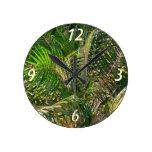 Sunset Lit Palm Fronds Wall Clock