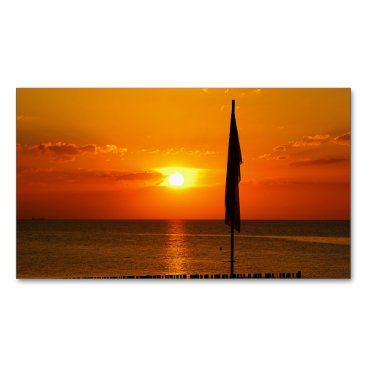Beach Themed Sunset Magnetic Business Card