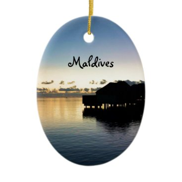 Beach Themed Sunset Maldives Beach House Boat Oval Ceramic Ornament