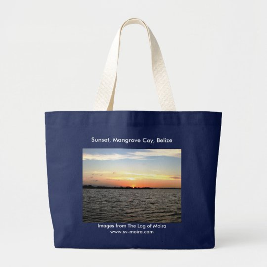 Sunset, Mangrove Cay, Belize Large Tote Bag