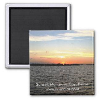 Sunset, Mangrove Cay, Belize Magnet