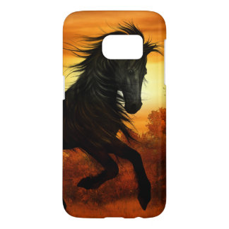 Sunset Meadow with Black Stallion Horse Samsung Galaxy S7 Case