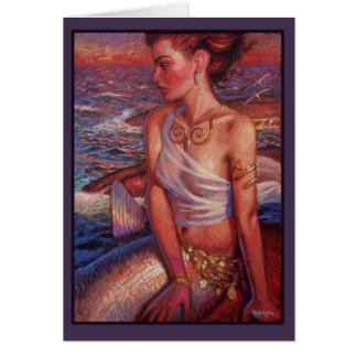 Sunset Mermaid Greeting Card