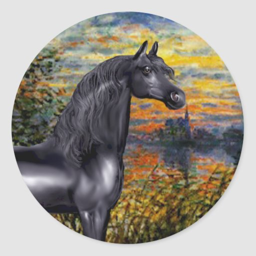 Sunset(Monet) - Black Arabian Horse Classic Round Sticker