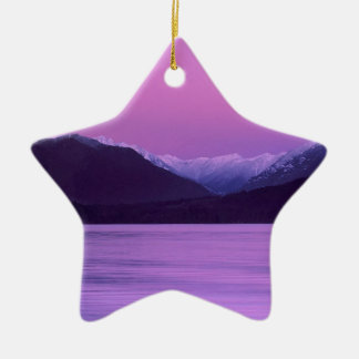 Sunset Moonset Olympic Mountains Ornaments