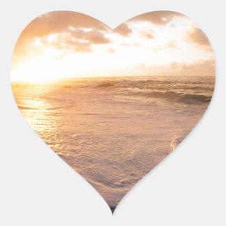 Sunset Moorea Island Polynesia Heart Sticker
