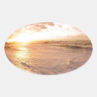 Sunset Moorea Island Polynesia Oval Sticker
