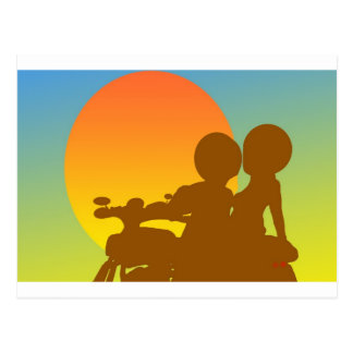 sunset motorcycle postcard