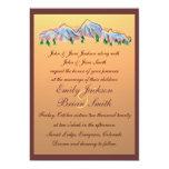 Sunset mountain design autumn wedding invitations