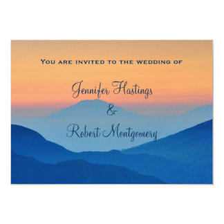 Sunset Mountain Powder Blue Wedding 5x7 Paper Invitation Card