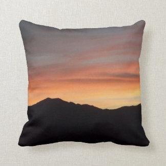 Sunset Mountain Silhouette Scenic Nature Throw Pillow