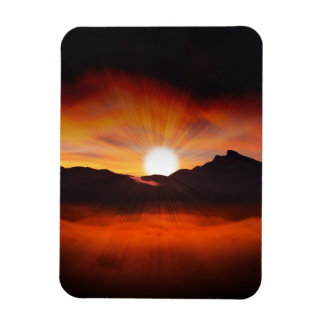 Sunset Mountain Silhouettes Nature Scenery Magnet