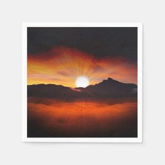 Sunset Mountain Silhouettes Nature Scenery Napkin