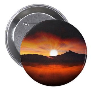 Sunset Mountain Silhouettes Nature Scenery Pinback Button