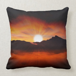 Sunset Mountain Silhouettes Nature Scenery Throw Pillow