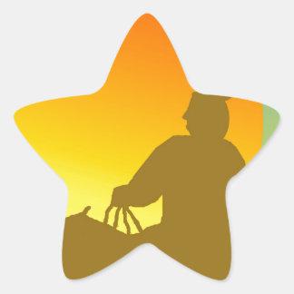 Sunset Native American. Star Sticker