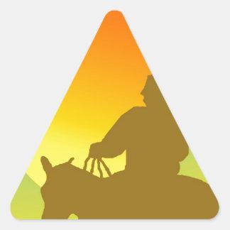 Sunset Native American. Triangle Sticker