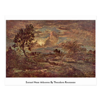 Sunset Near Arbonne By Theodore Rousseau Postcard