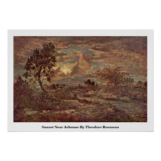 Sunset Near Arbonne By Theodore Rousseau Print