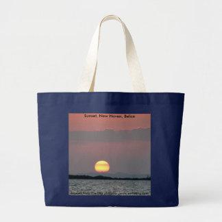 Sunset, New Haven, Belize Large Tote Bag