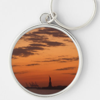 """""""Sunset New York Harbor and Statue of Liberty"""" Silver-Colored Round Keychain"""