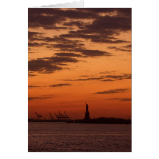 Sunset New York Harbor and Statue of Liberty USA Card