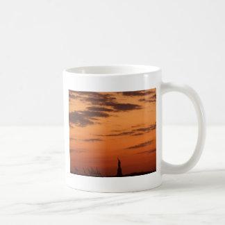 Sunset New York Harbor and Statue of Liberty USA Coffee Mug