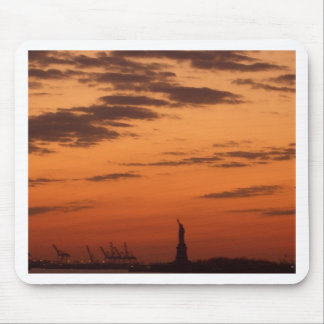 Sunset New York Harbor and Statue of Liberty USA Mouse Pad