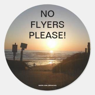 Sunset No Flyers please sticker
