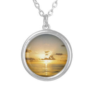 Sunset North of Bermuda Silver Plated Necklace