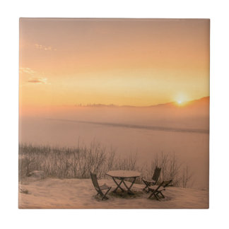 Sunset Norway wintertime Tile