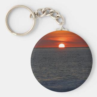 Sunset Ocean Basic Round Button Keychain