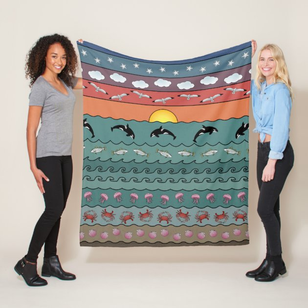 Studio Dalio - Sunset Ocean Beach Scene with Orca Whales Fleece Blanket
