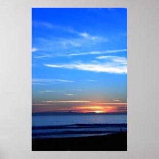 Sunset Ocean Blue print