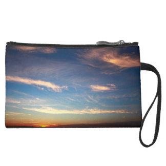 Sunset Ocean Blue Wristlet Purse