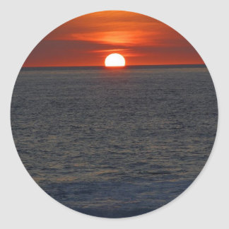 Sunset Ocean Classic Round Sticker
