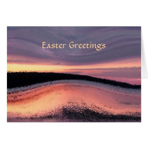 Sunset Ocean Wave Abstract Easter Card