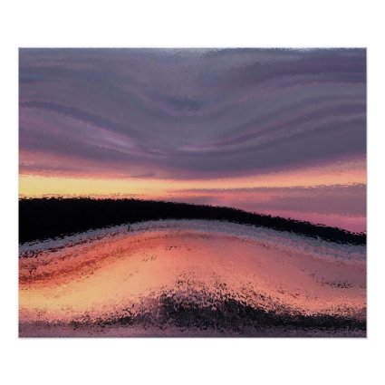 Sunset Ocean Wave Abstract Poster