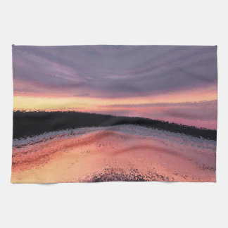 Sunset Ocean Waves Abstract Hand Towels