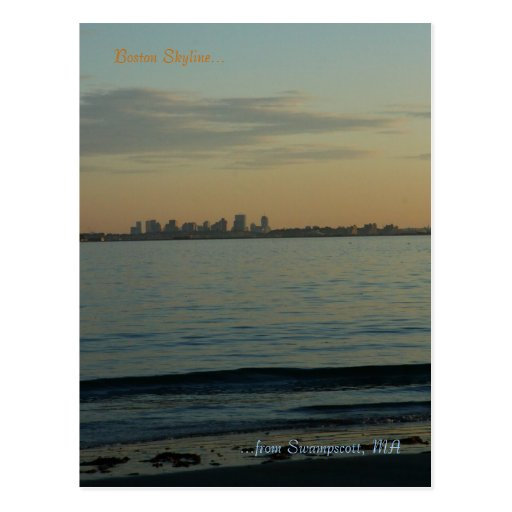 Sunset of the Boston Skyline from Swampscott, MA Post Cards