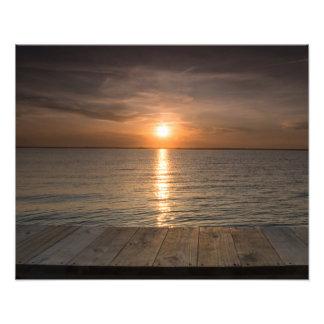 Sunset off of dock photo print
